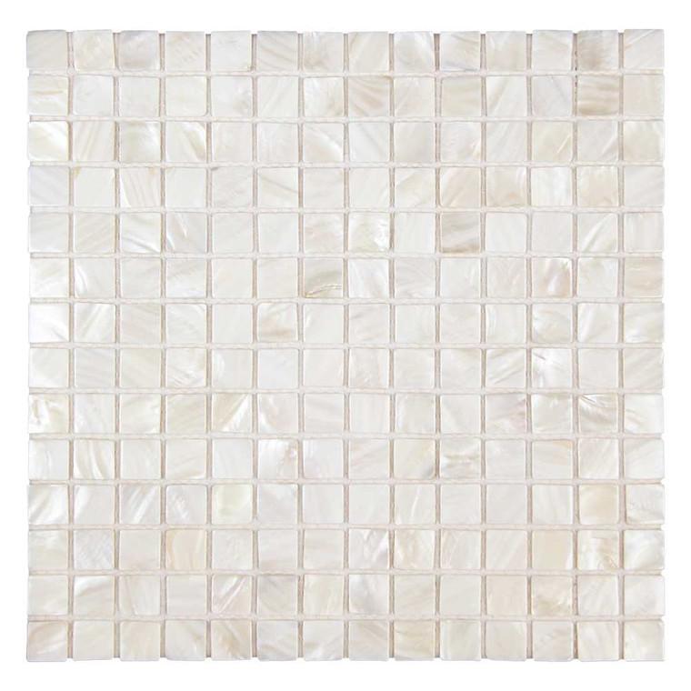 "South Seas Super White Square 1"" x 1"" Pearl Shell Tile"