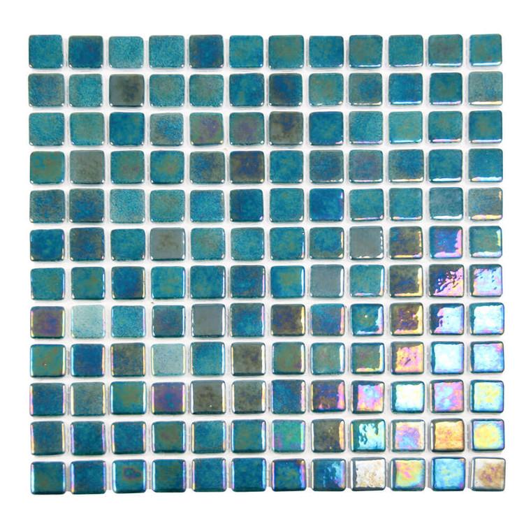 Sea Pearl Meridian Blue Iridescent 1x1 Glass Pool Tile