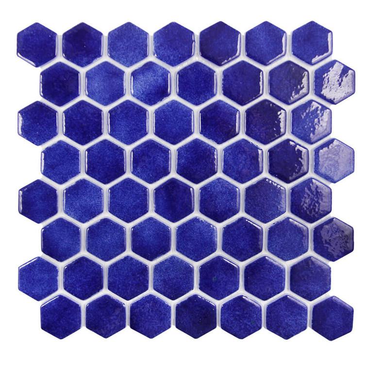 Islamorada Hexagon Pacific Blue Glass Pool Tile