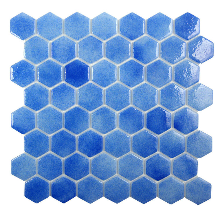 Islamorada Hexagon Bay Blue Glass Pool Tile