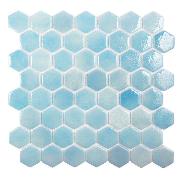 Islamorada Hexagon Freshwater Blue Glass Pool Tile