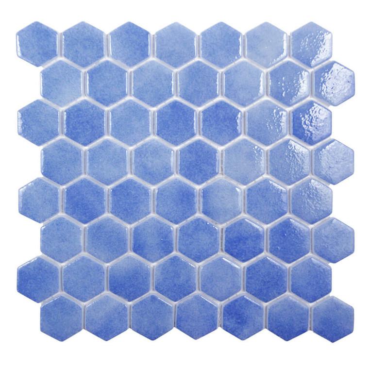 Islamorada Hexagon Laguna Blue Glass Pool Tile