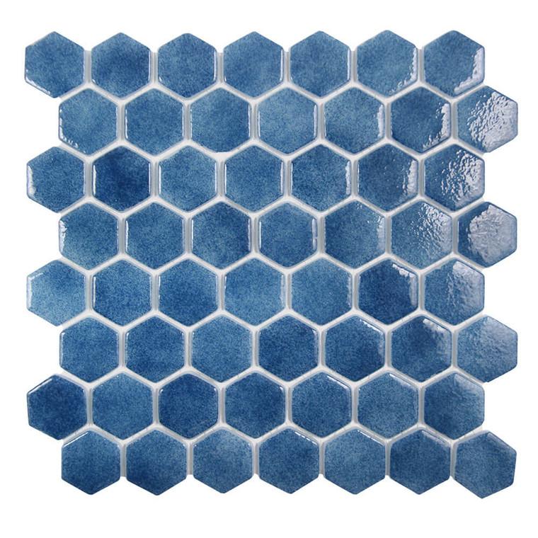 Islamorada Hexagon Tidepool Blue Glass Pool Tile