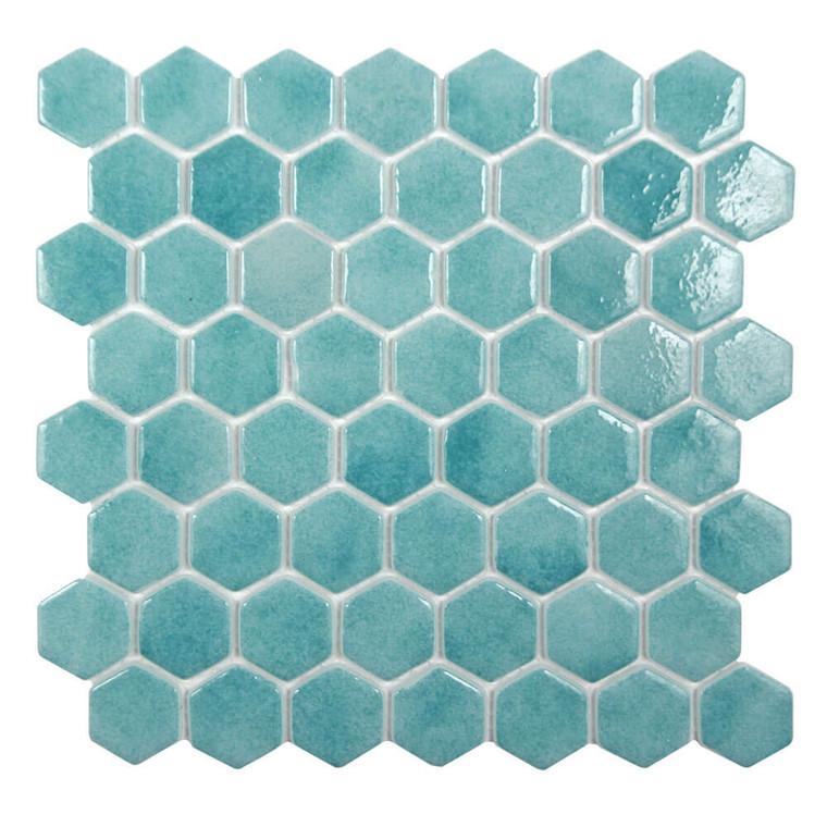 Islamorada Hexagon Seafoam Green Glass Pool Tile