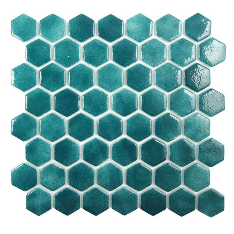 Islamorada Hexagon Starboard Green Glass Pool Tile