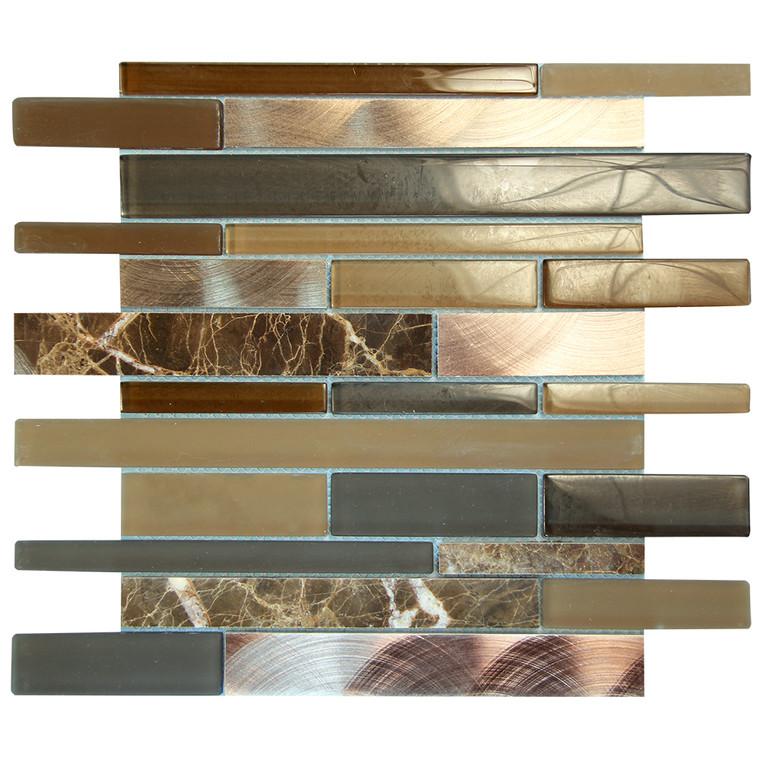 Eternital Emperador Mosaic Glass Tile