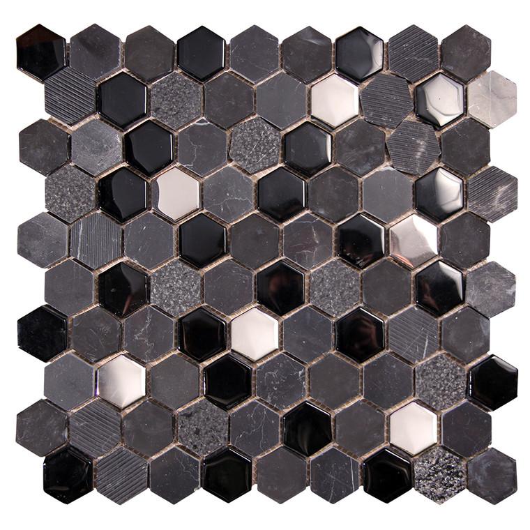Hexagon Black Mosaic Glass Tile