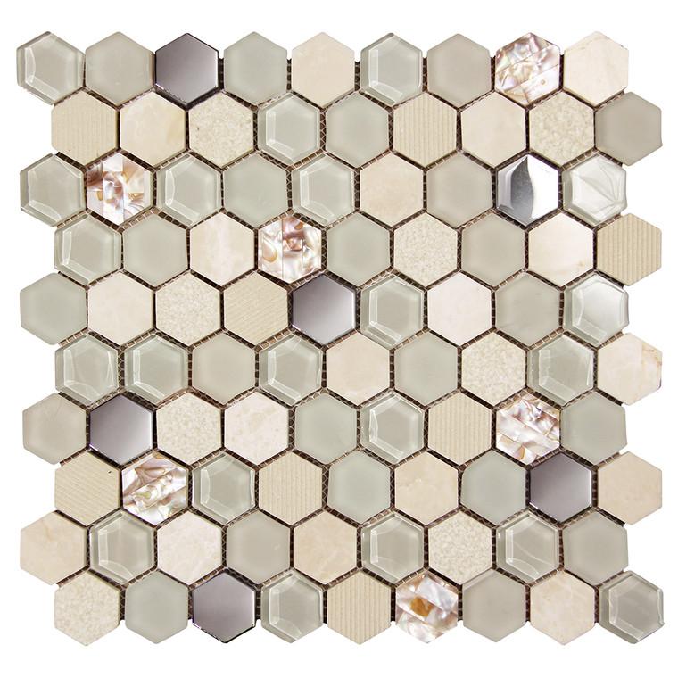 Hexagon Shell Beige Mosaic Glass Tile