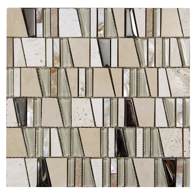 Kappa Shell Beige Mosaic Glass Tile