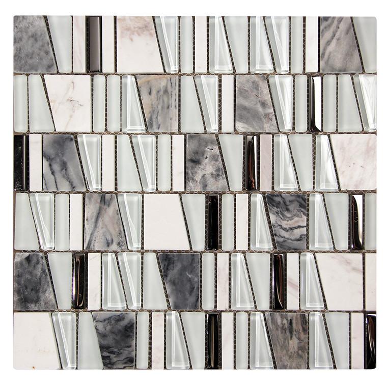 Kappa White Mosaic Glass Tile