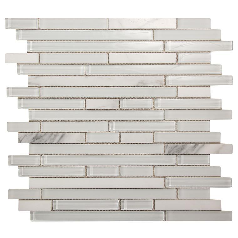 Leto White Mosaic Glass Tile