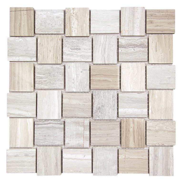 Linker White Wood Mosaic Stone Tile