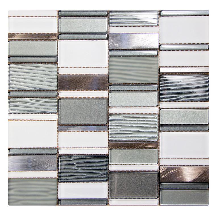 Loft Silver Mosaic Glass Tile