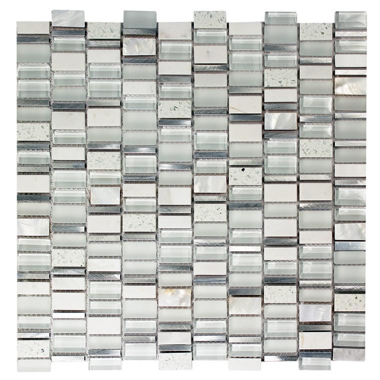 Ole Blanco Mix Glass Metal  Stone Mosaic Tile