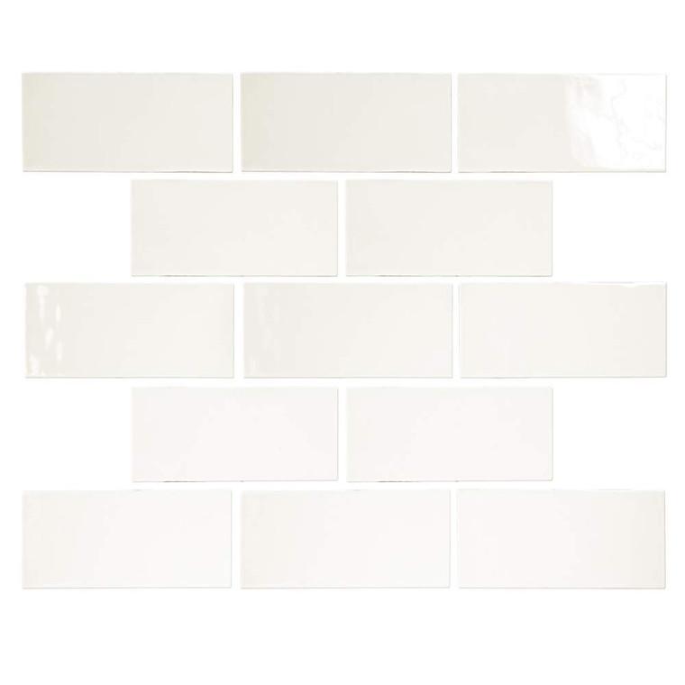 Pastel Off White Glossy 3x6 Porcelain Subway Tile