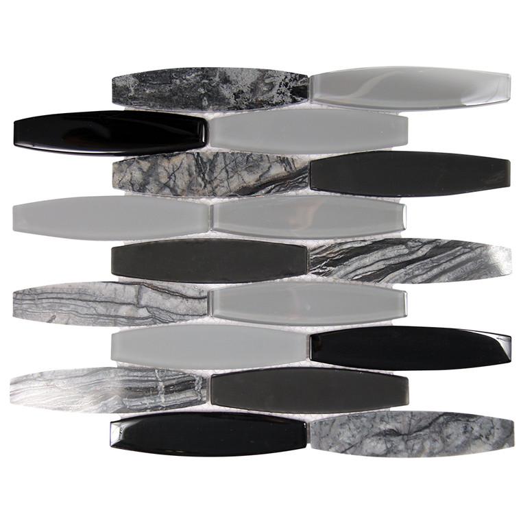 Radiant Black Mix Mosaic Glass Tile