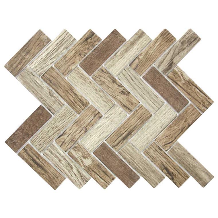 Spigacycle Wood Mix Herringbone Recycled Glass Tile