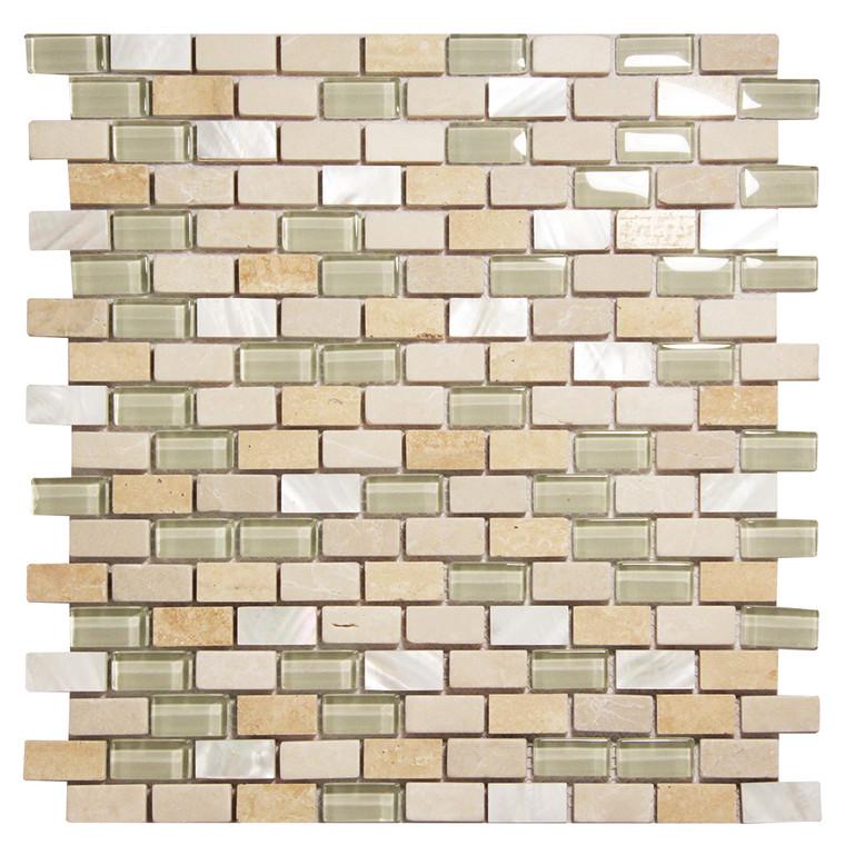 Agata Shell Mix Beige Mosaic Glass Tile