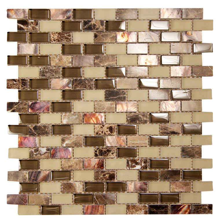 Agata Shell Mix Emperador Mosaic Glass Tile