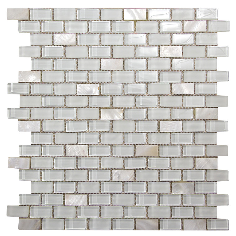 Agata Shell Mix White Mosaic Glass Tile