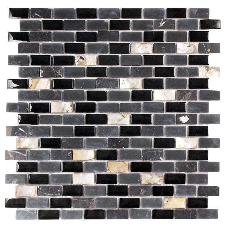 Agata Shell Mix Black Mosaic Glass Tile
