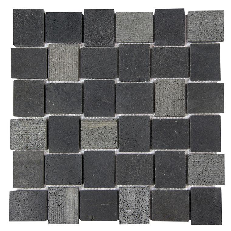 Linker Basalt Black Mosaic Stone Tile