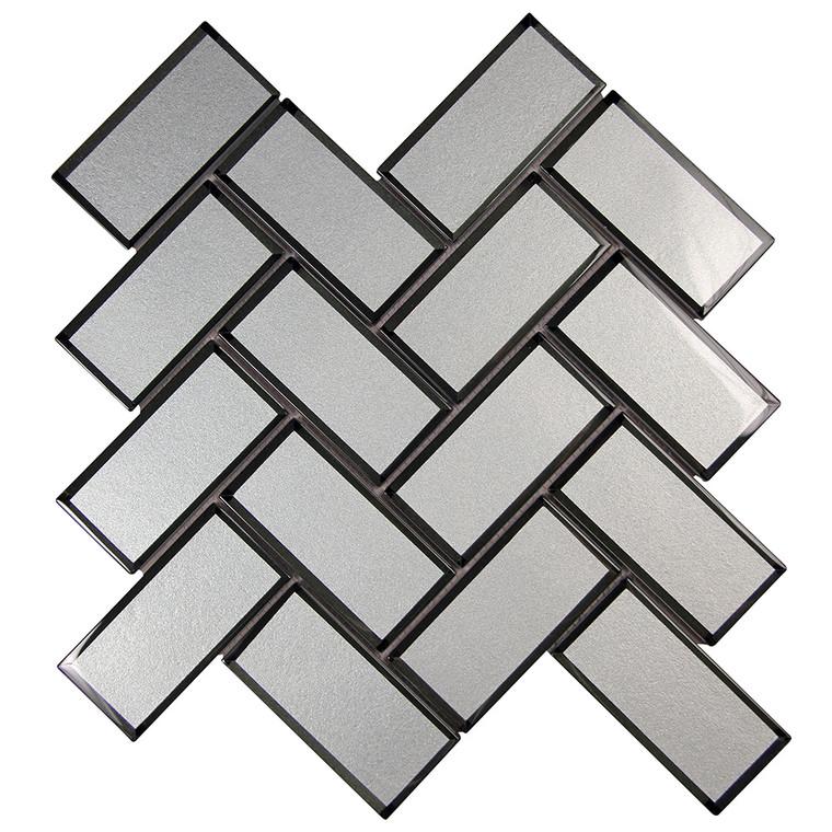 Mirror Grey Herringbone Mosaic Glass Tile