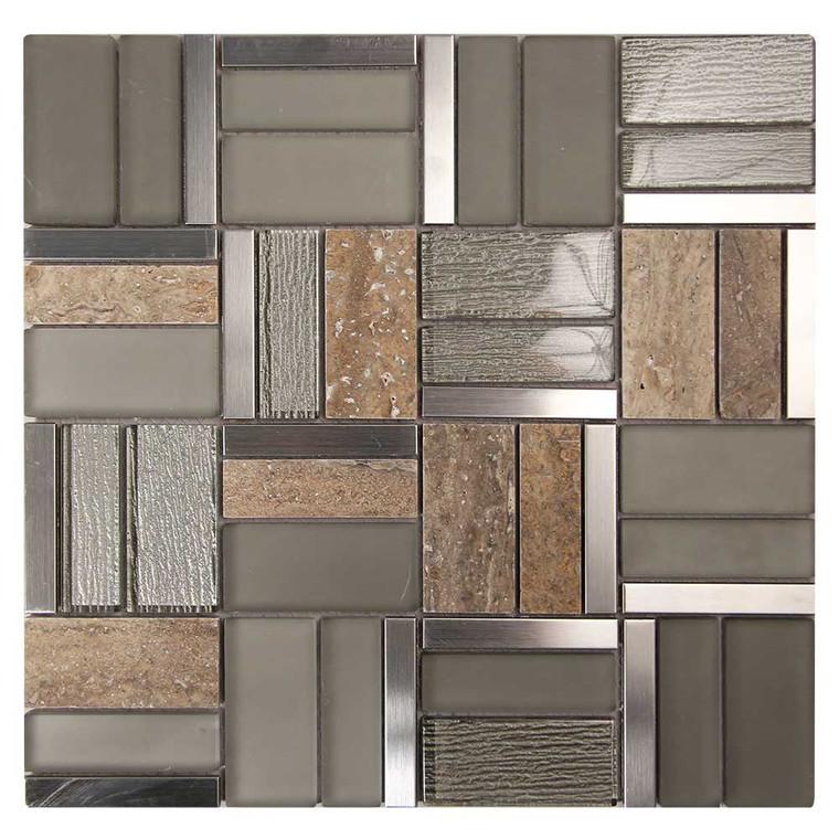 Fringe Tan Glass, Marble, Metal Mosaic Tile