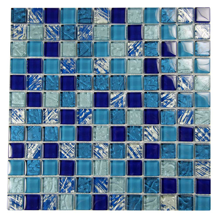 Splash Blue and Silver Mix MOS#7 Glass Mosaic Pool Tile
