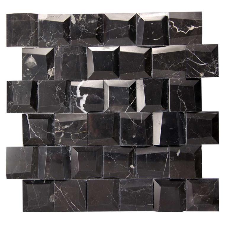 Adamant Marquina Geometric Marble Mosaic Tile