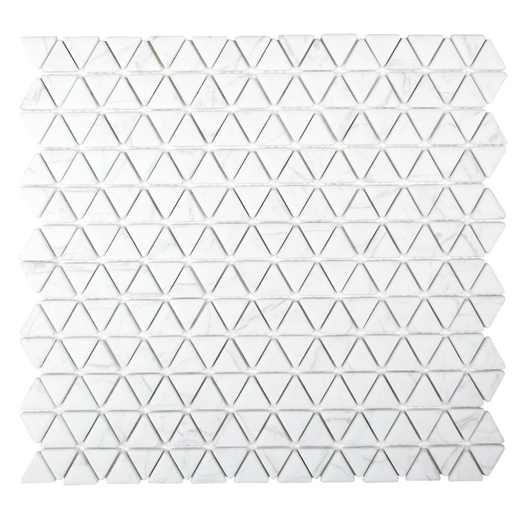 Triangle Natural Snow White Recycled Glass Tile