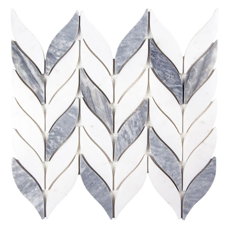 Elegance Grey and White Mix Waterjet Marble Leaf Mosaic Tile