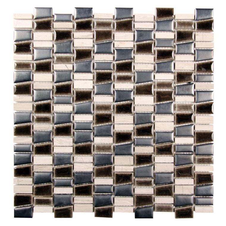 Mirada K Mix Matel Black and Grey Ceramic and Stone Tile
