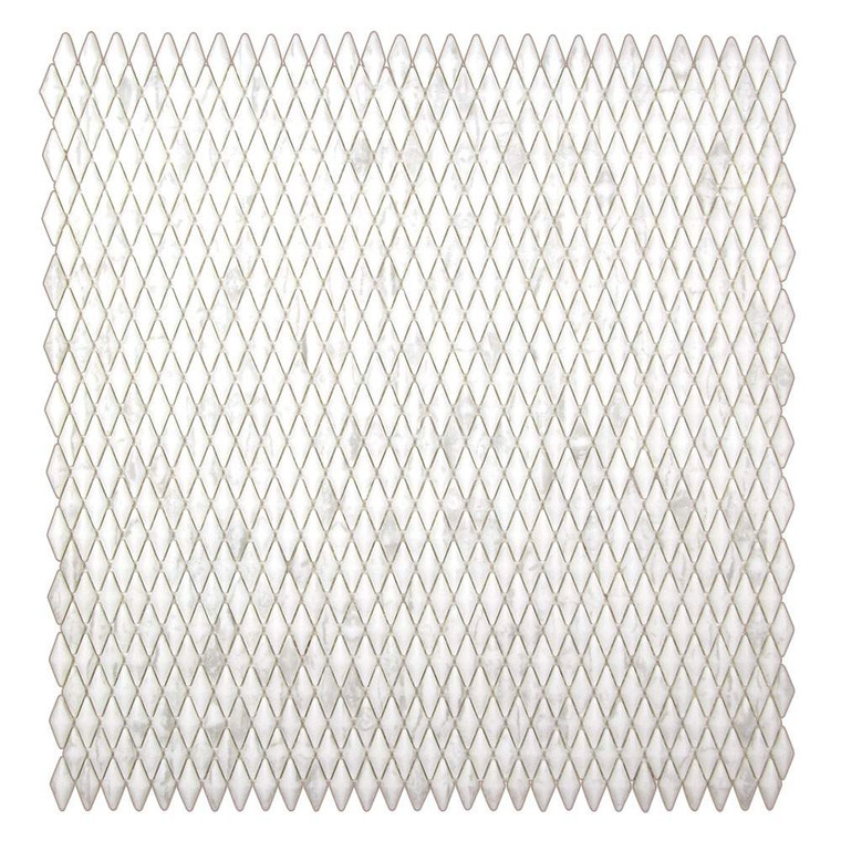 Lux Rhombus Pattern Snow White Recycled Glass Tile