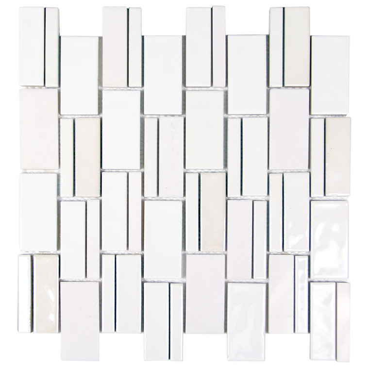Mirada 73 White Ceramic and Marble Tile