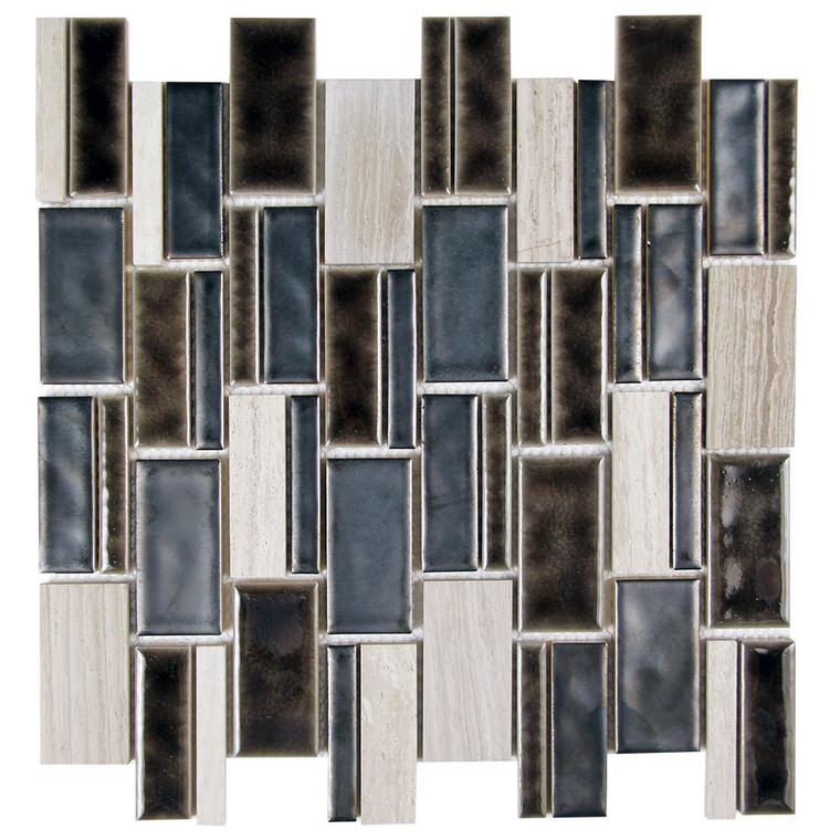 Mirada 73 Matel Black and Grey Ceramic and Stone Tile