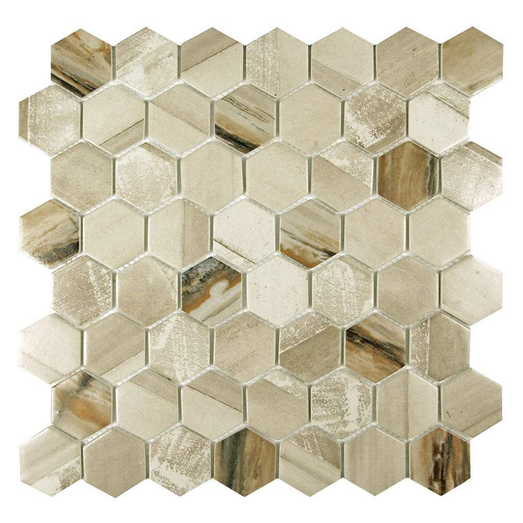 Sixcycle Beige Hexagon Recycled Glass Tile