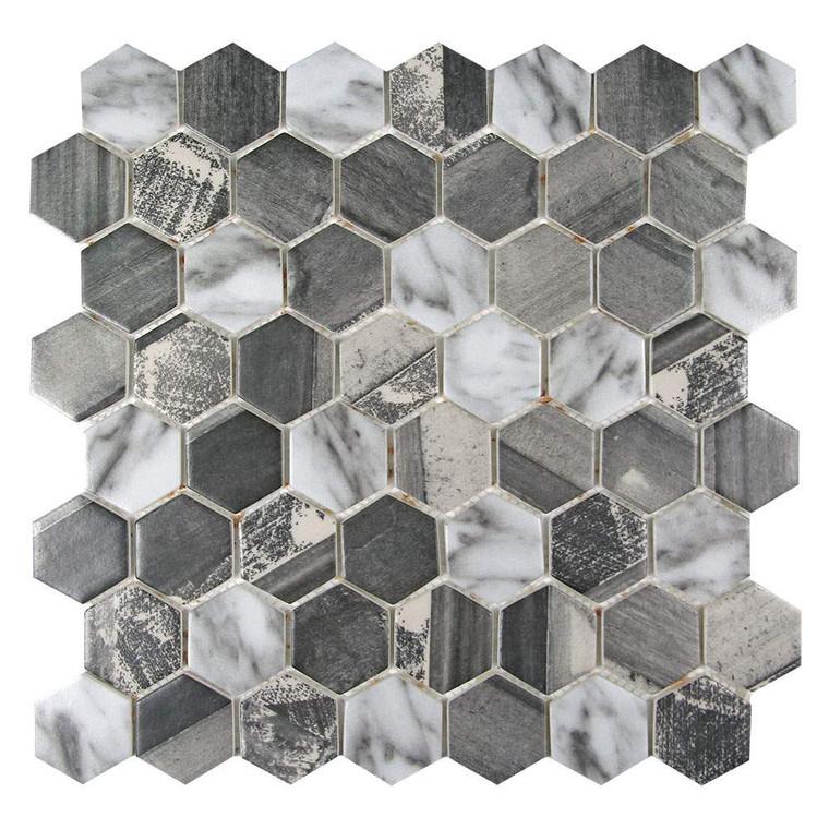 Sixcycle Grey Hexagon Recycled Glass Tile
