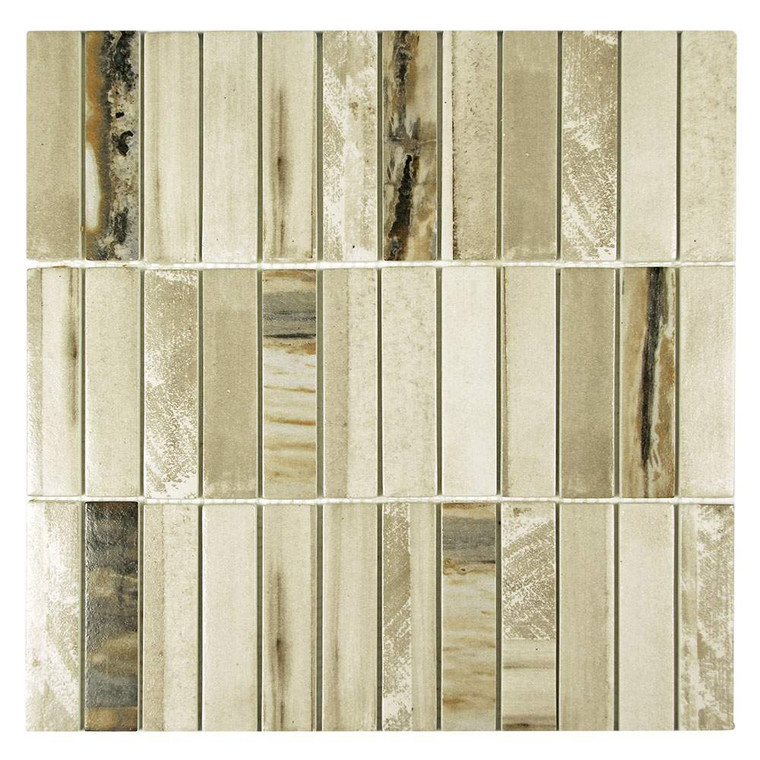 Ninecycle Beige Linear Recycled Glass Tile