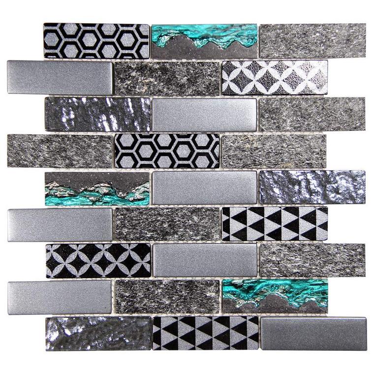 Core Grey Geometric Metallic Glass Tile
