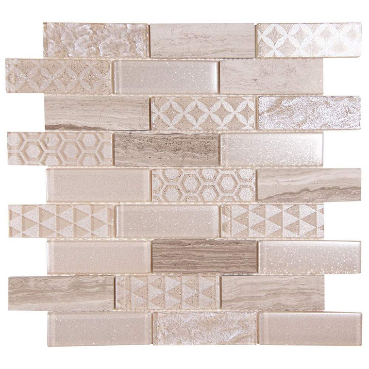 Core Mix White Wood Geometric Metallic Glass Tile