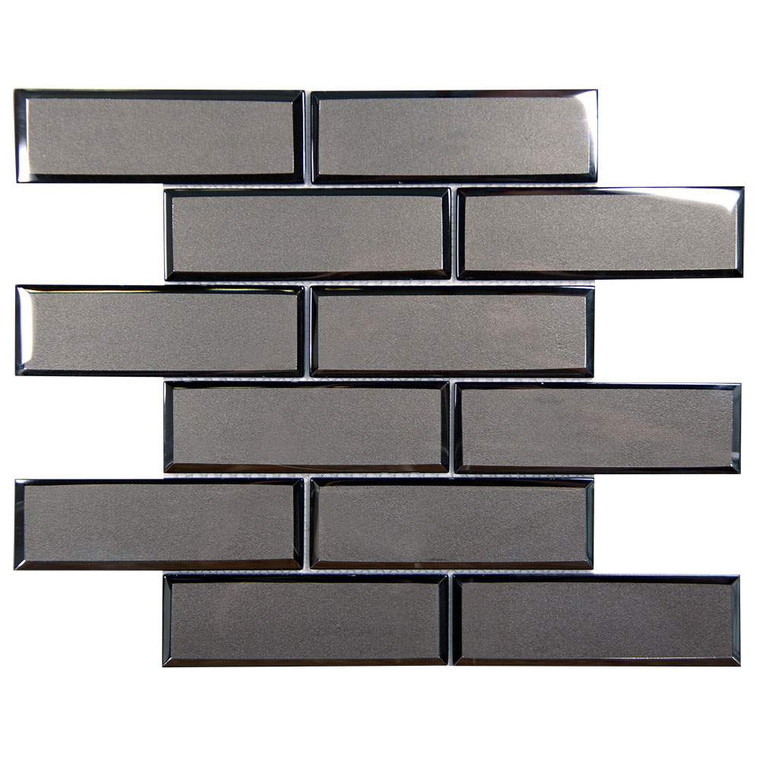 Mirror Linear Charcoal Beveled Subway Glass Tile