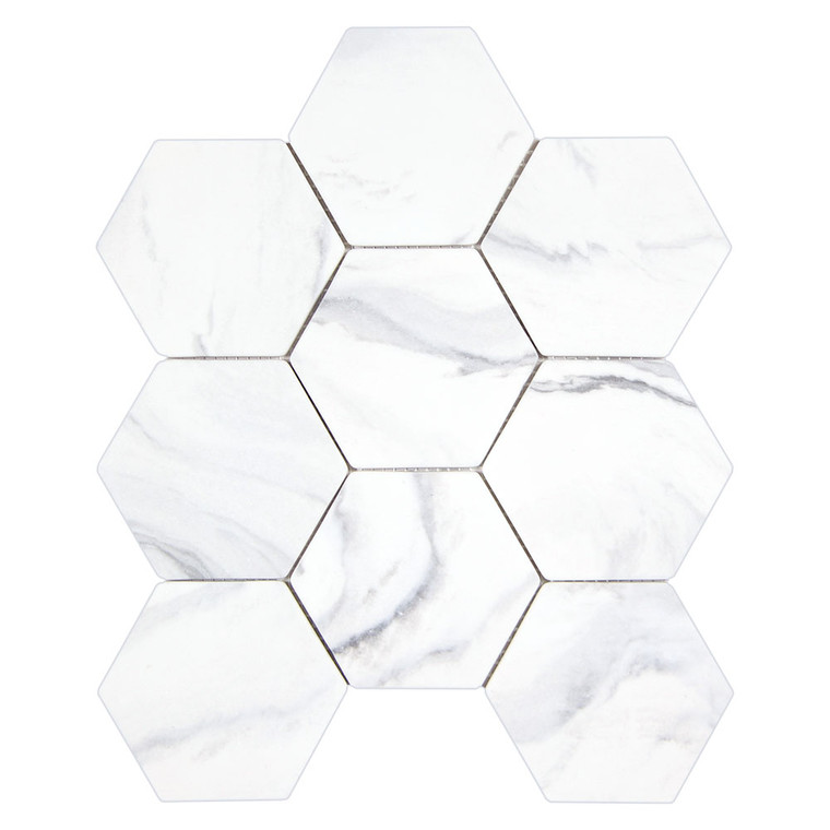 Calacatta Grey Hexagon Recycled Glass Tile