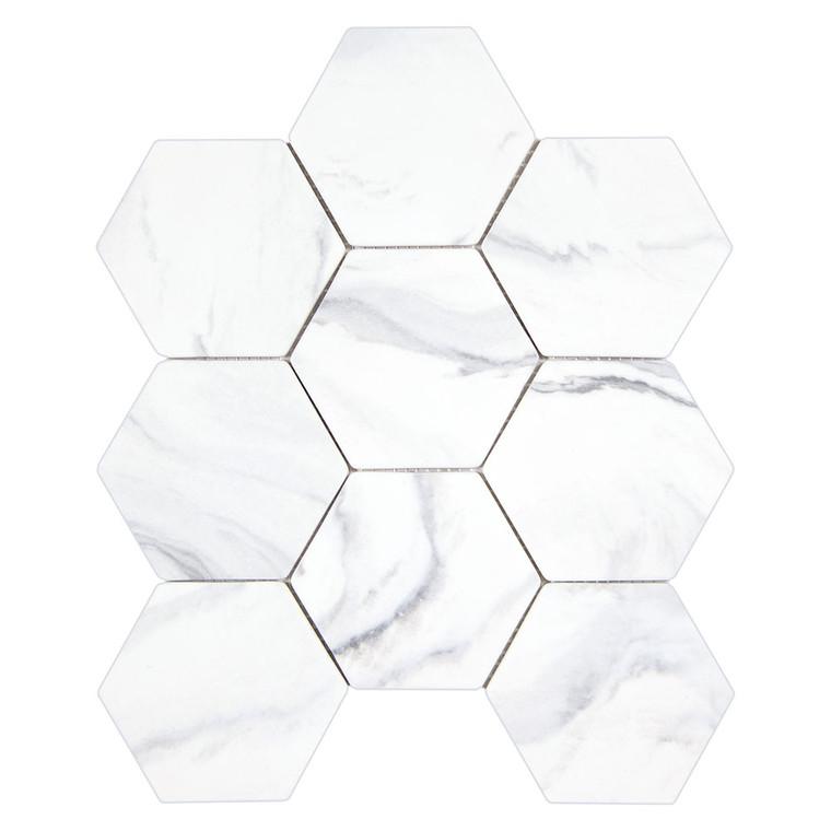 Calacatta Grey Hexagon Recycled Glass Tile