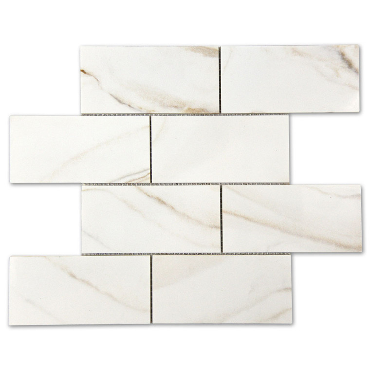 Calacatta Gold Subway Recycled Glass Tile