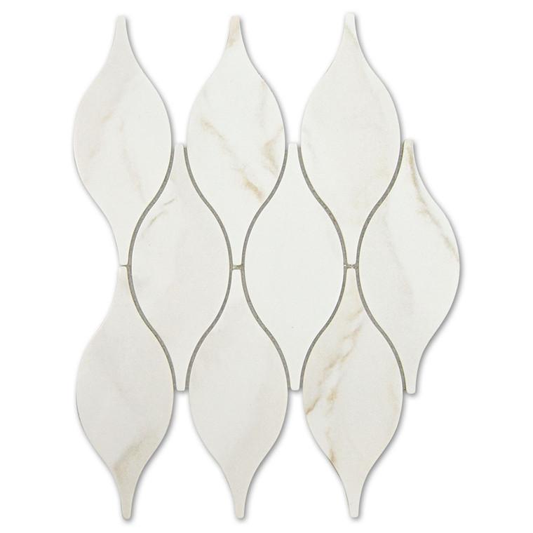 Calacatta Gold Teardrop Recycled Glass Tile