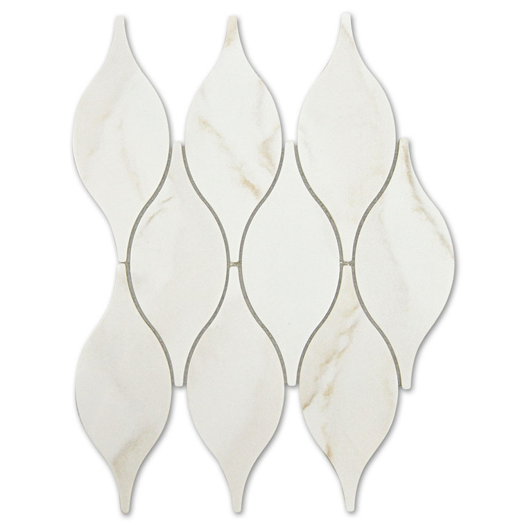 Calacatta Gold Teardrop Recycled Glass Tile