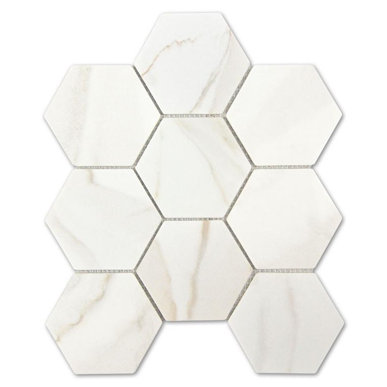 Calacatta Gold Hexagon Recycled Glass Tile