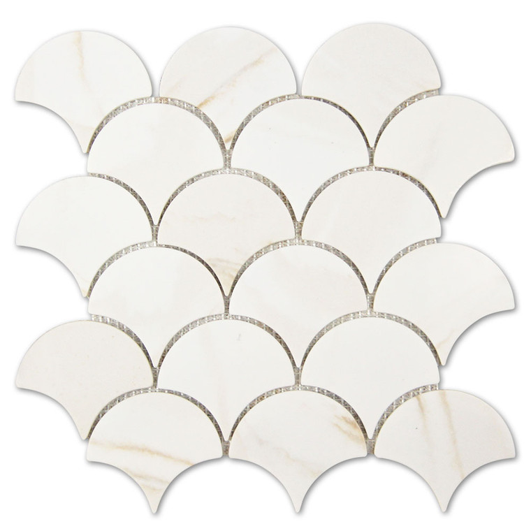 Calacatta Gold Fish Scale Recycled Glass Tile