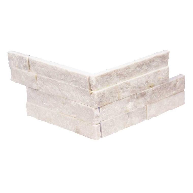Pacific Slim Brick White Stone Tile - Corner